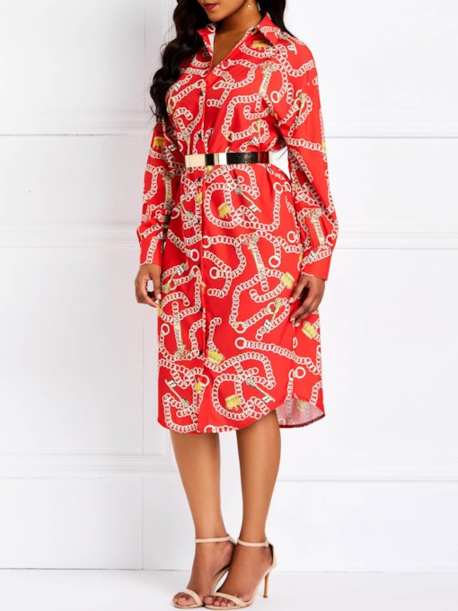 Print Lapel Button Long Sleeve Women's Day Dress