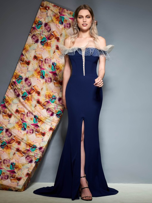 Off-The-Shoulder Pick-Ups Trumpet Evening Dress