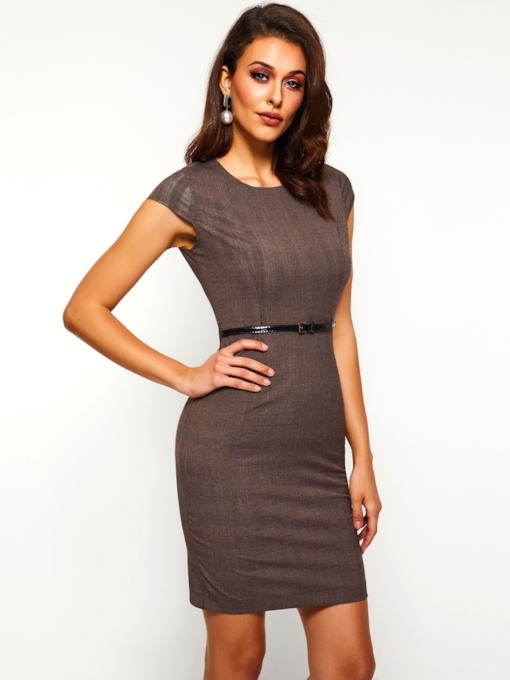 Round Neck Short Sleeve Plain Women's Bodycon Dress