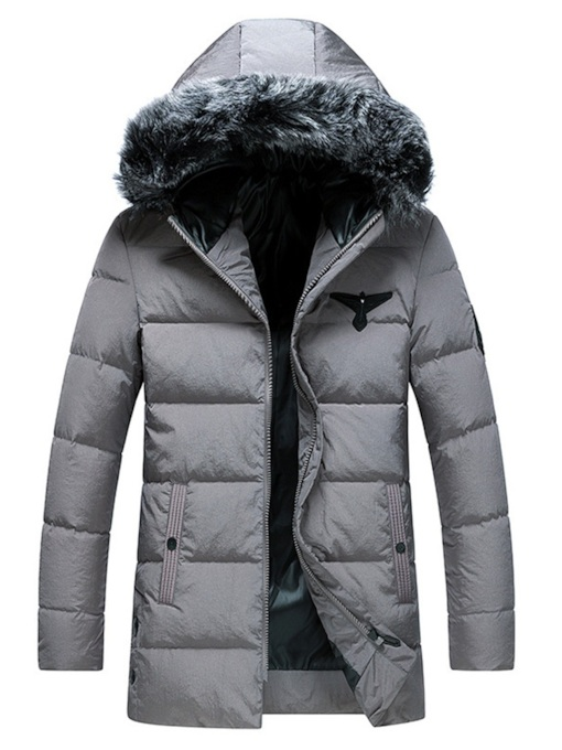 Plain Casual Fur Hooded Men's Down Jacket