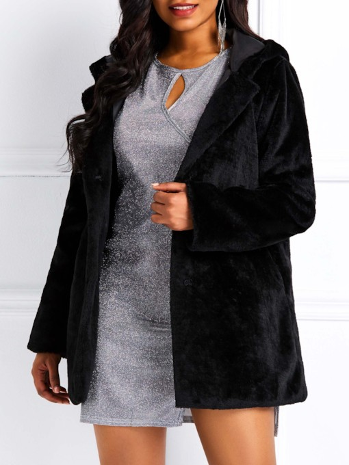 Fluffy Plain Mid-Length Hooded Women's Overcoat