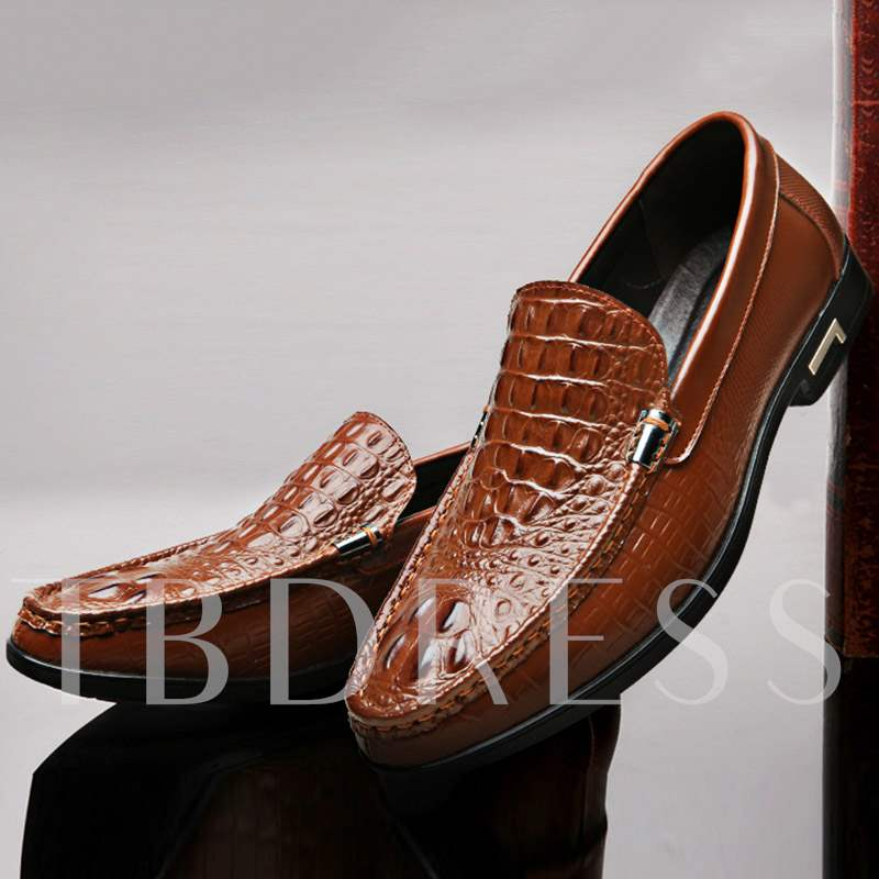 Slip-On Low-Cut Upper Plain PU Alligator Pattern Men's Loafer
