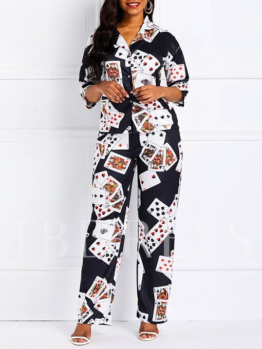 Color Block Casual Print Pants Straight Women's Two Piece Sets