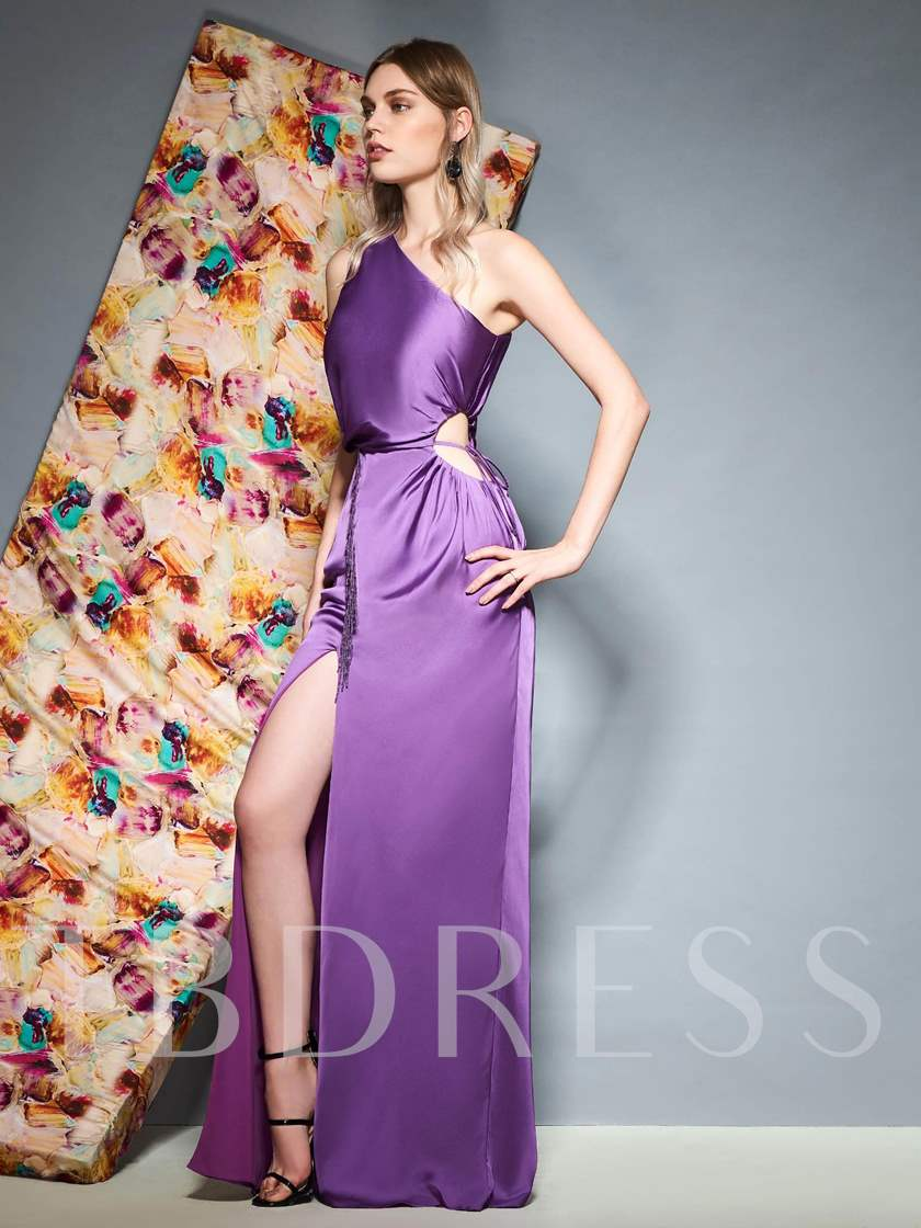 One Shoulder Beading Split-Front Lilac Evening Dress