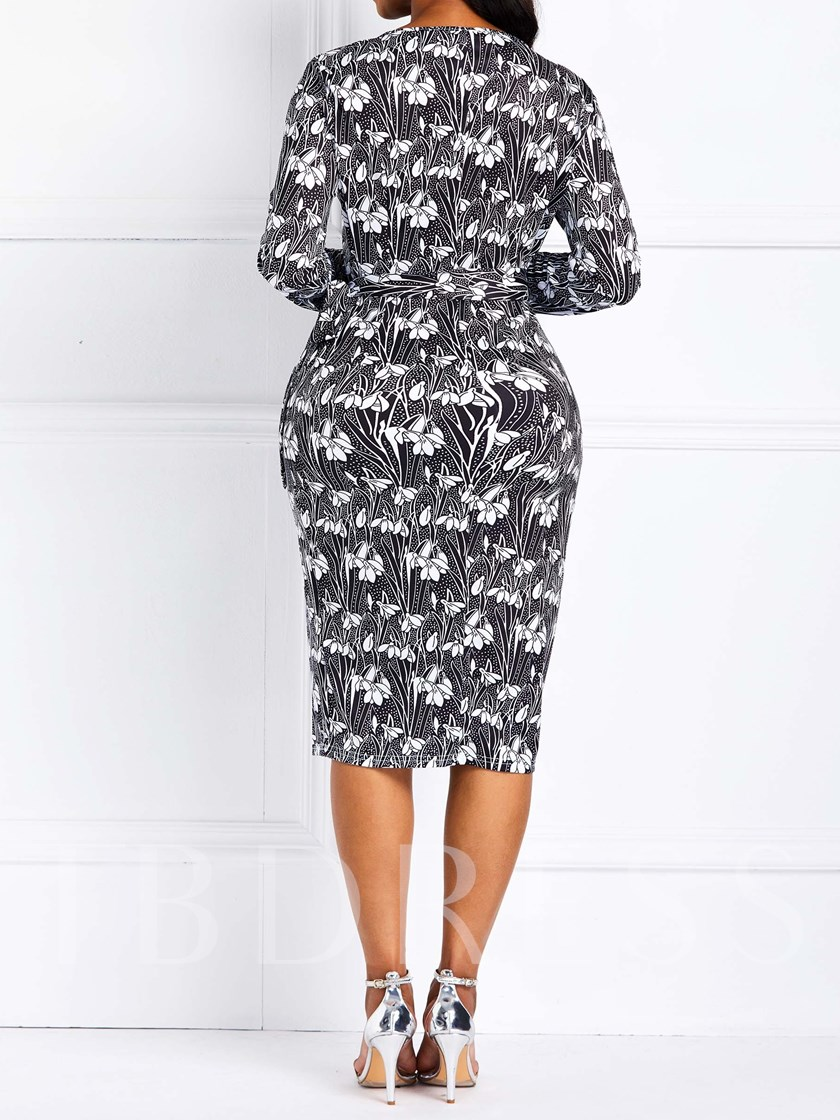 Long Sleeve Print Bodycon Women's Bodycon Dress
