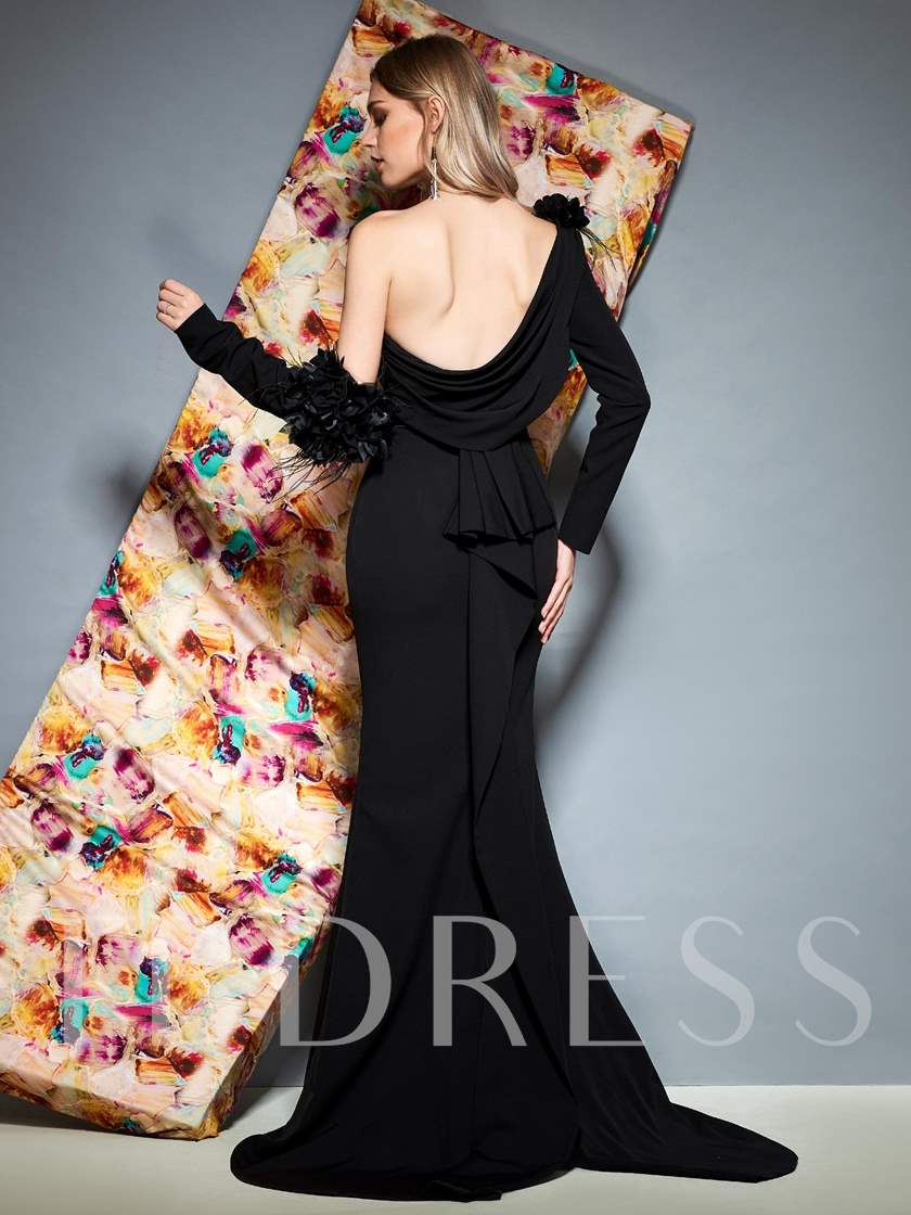 One Shoulder Flowers Long Sleeve Halloween Evening Dress