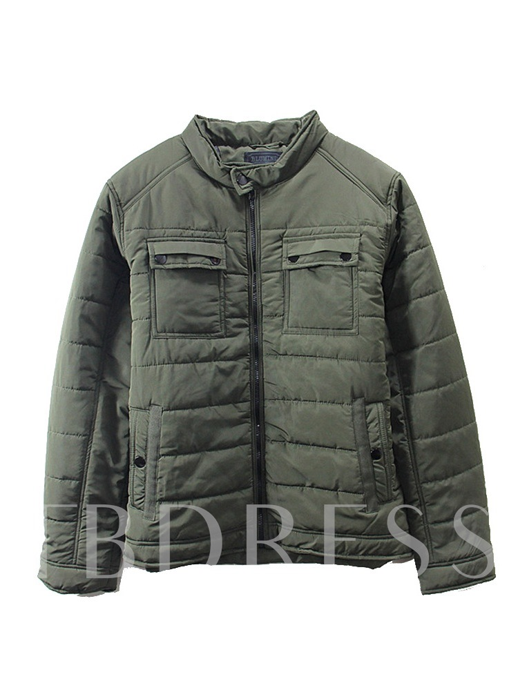 Standard Plain Stand Collar Zipper Men's Jacket