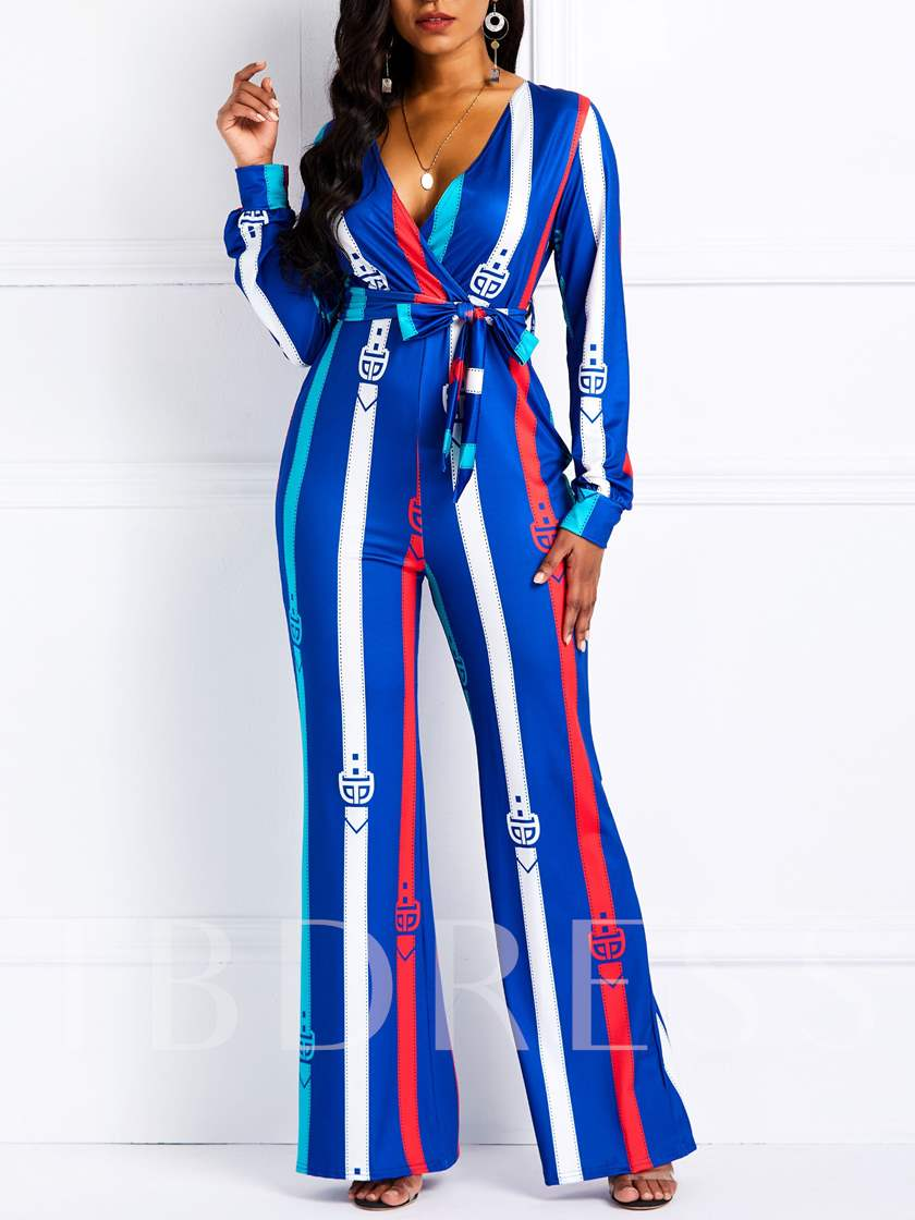 Sexy Print Stripe Full Length High-Waist Women's Jumpsuit