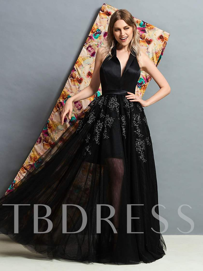 Sleeveless A-Line V-Neck Appliques Evening Dress