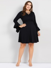 Plus Size V-Neck Lace-Up Pullover Women's Long Sleeve Dress