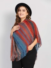 Color Block Stripe Tassel Plus Size Women's Cape