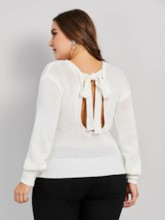 bowknot backless plus size frauen pullover