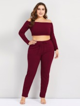 Plus Size Pants Thread Pullover Women's Two Piece Sets