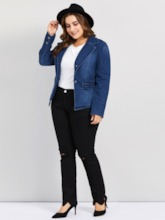 Notched Lapel Plus Size Women's Denim Jacket
