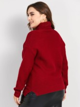 Turtleneck Plain Plus Size Women's Sweater