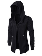Hooded Mid-Length Plain Single Men's jacket