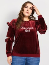 Velvet Hollow Letter Embroidery Plus Size Women's Sweatshirt