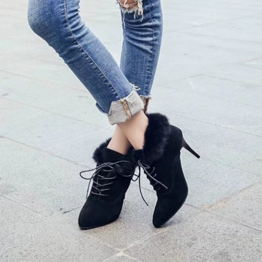 Pointed Toe Plain Stiletto Heel Lace-Up Front Women's Ankle Boots
