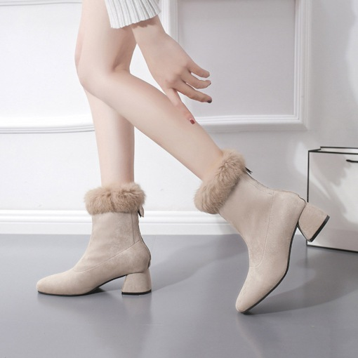 Round Toe Back Zip Chunky Heel Plain Purfle Women's Ankle Boots