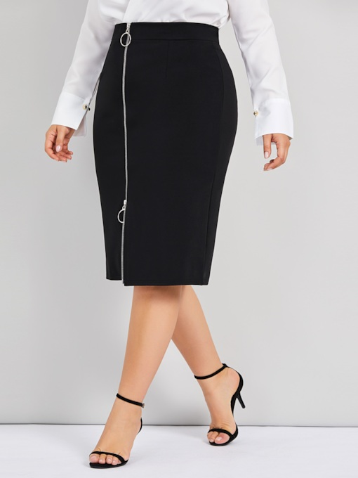 Plus Size Mid-Calf Plain Split Sexy Women's Pencil Skirt