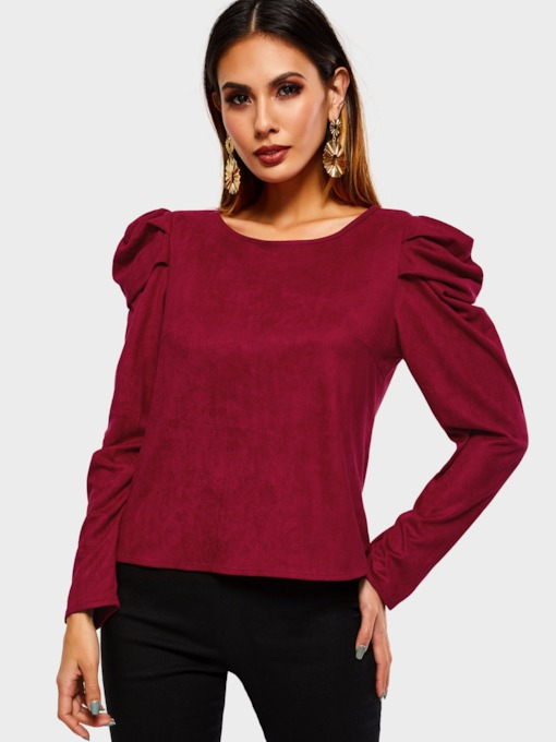 Long Sleeve Plain Slim Women's T-Shirt