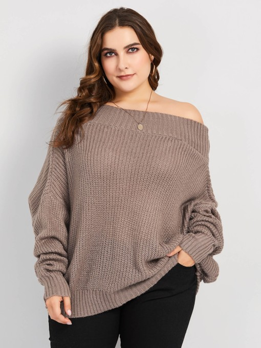 Loose Off Shoulder Plus Size Women's Sweater