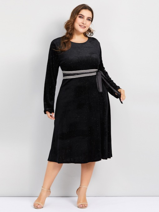 Lace-Up Round Neck A-Line Women's Long Sleeve Dress