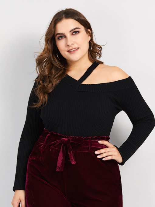 Oblique Collar Plus Size Women's Sweater