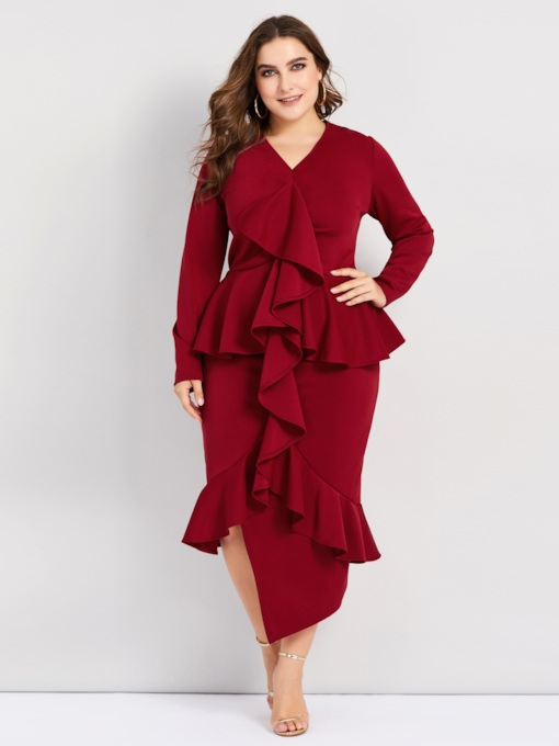Burgundy Asymmetrical Falbala Women's Sheath Dress
