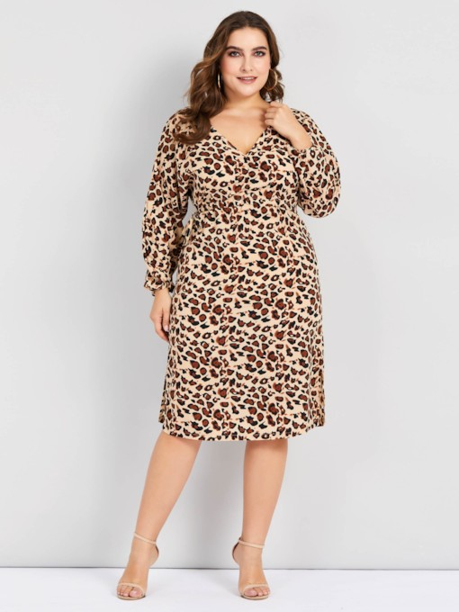 V-Neck Leopard Pullover Women's Long Sleeve Dress