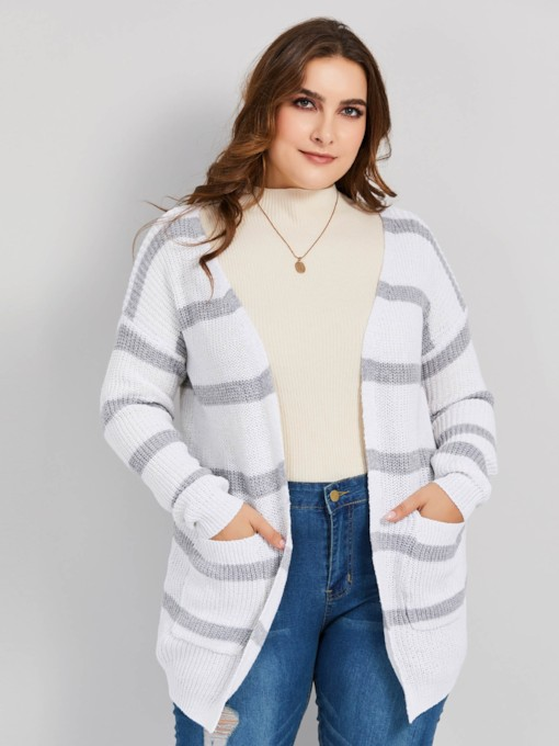 Loose Wrapped Stripe Plus Size Women's Cardigan