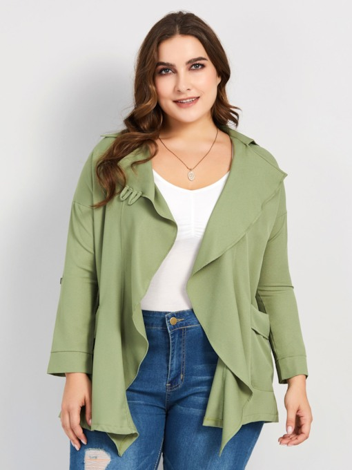 Plain Mid-Length Plus Size Women's Trench Coat