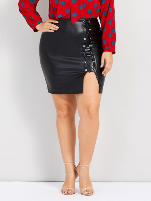 Plus Size Split Bodycon High-Waist Women's Mini Skirt