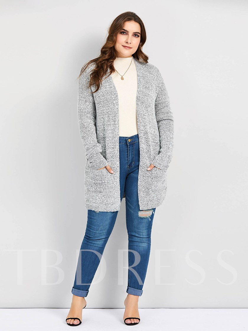 Mottled Wrapped Plus Size Women's Cardigan