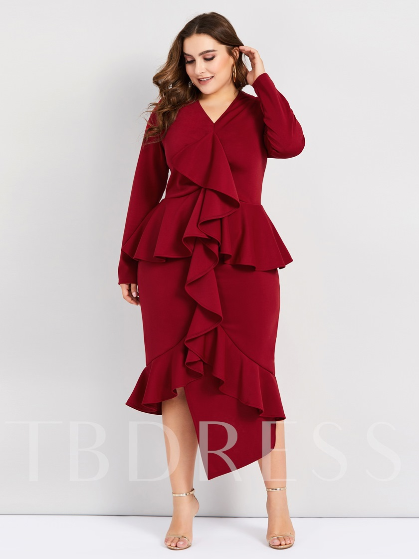 Plus Size Burgundy Asymmetrical Falbala Women's Sheath Dress