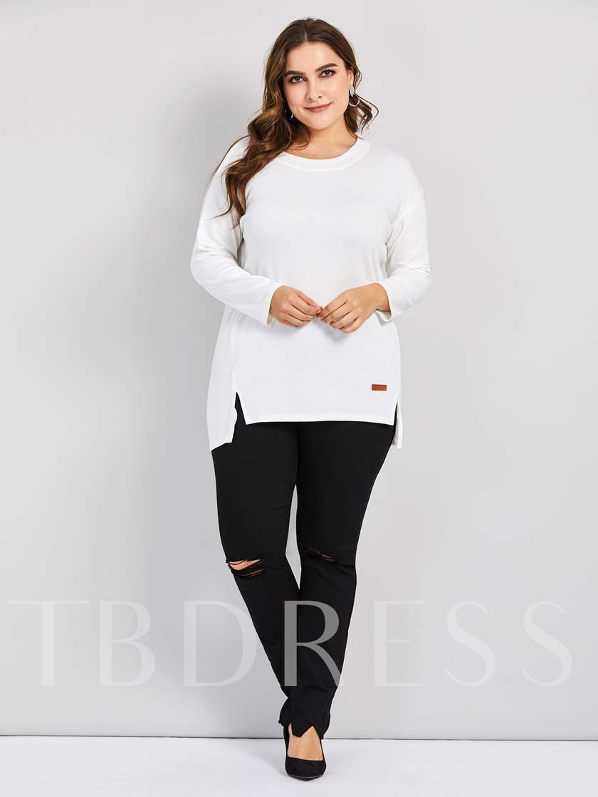 Round Neck Long Sleeve Plain Plus Size Women's T-Shirt