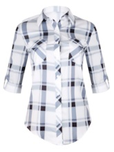Color Block Plaid Lapel Mid-Length Women's Shirt