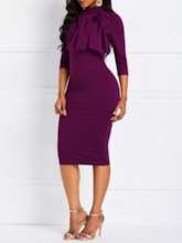 Bowknot Three-Quarter Sleeve Women's Bodycon Dress