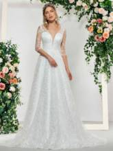V-Neck Appliques Half Sleeves Wedding Dress 2019