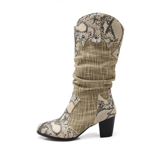 Slip-On Patchwork Round Toe Chunky Heel Serpentine Mid Calf Boots