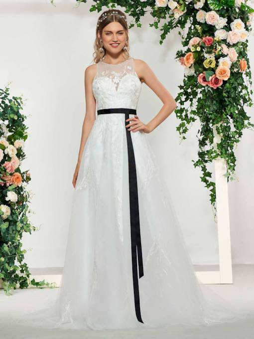 A-Line Beading Appliques Sashes Wedding Dress 2019