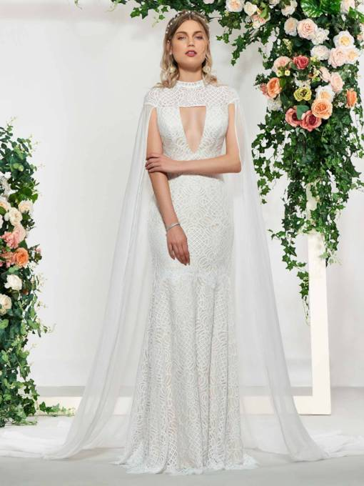 Mermaid High Neck Lace Wedding Dress 2019