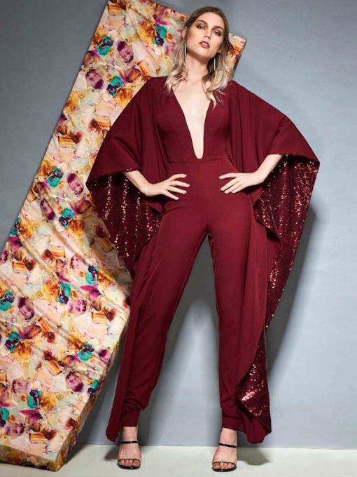 V-Neck Sequins Evening Jumpsuits with Sleeves