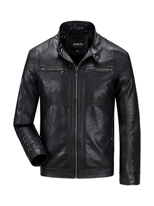 Stand Collar Plain Men's Leather Jacket