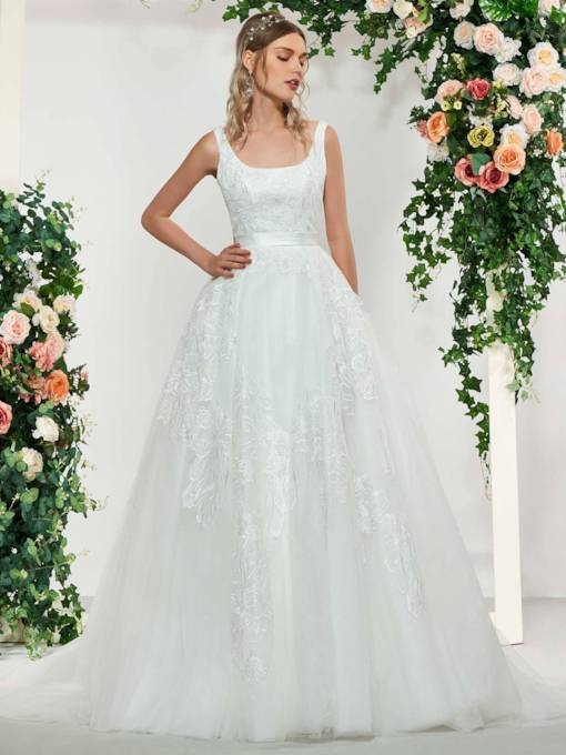 Ball Gown Square Neck Lace Wedding Dress
