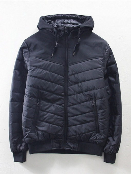 Hooded Standard Patchwork Zipper Men's Down Jacket