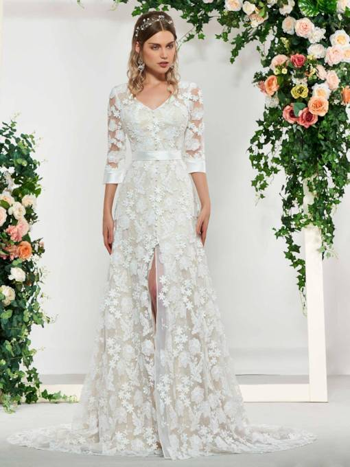 Button Half Sleeves V-Neck Lace Wedding Dress 2019