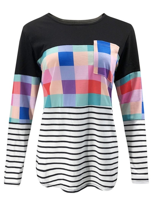 Round Neck Color Block Plaid Women's T-Shirt