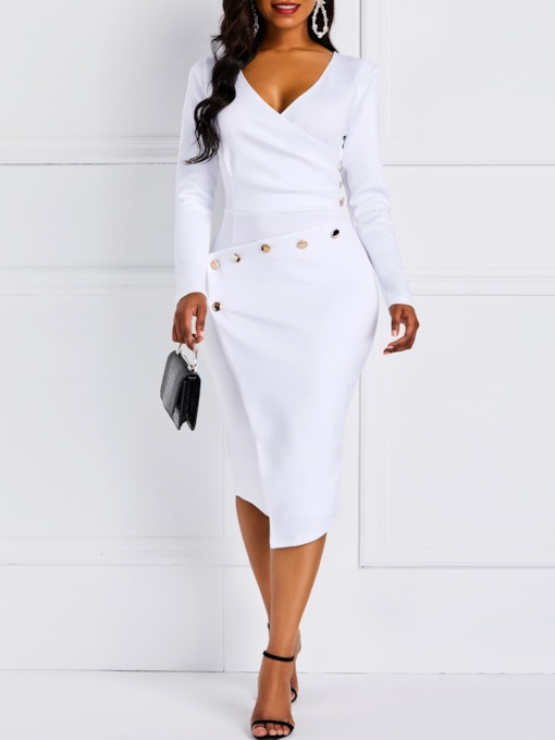 Asymmetric V-Neck Bead Casual Women's Bodycon Dress