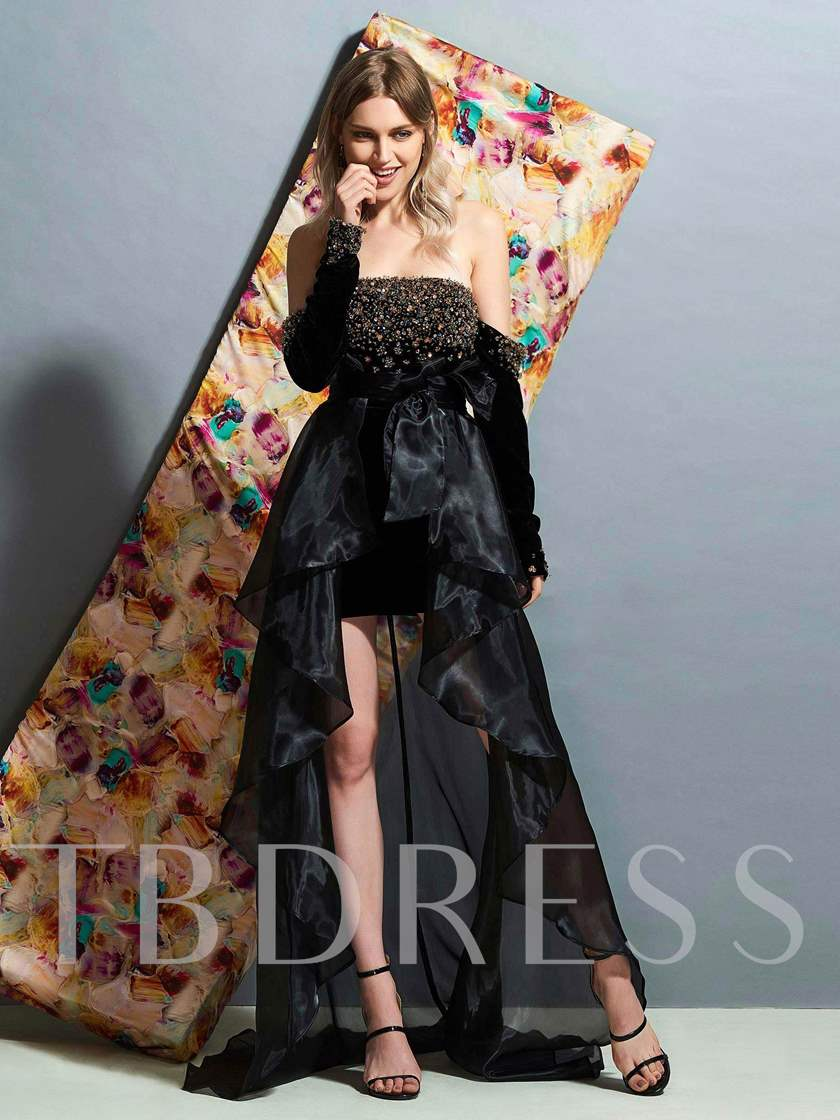 Long Sleeves Ruched A-Line Court Evening Dress